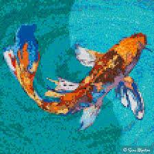 mosaic design of butterfly koi fish koifish koipond
