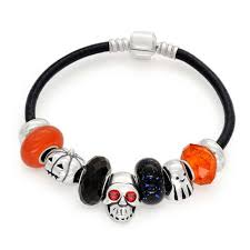 halloween charms onyx color skull charm bracelet