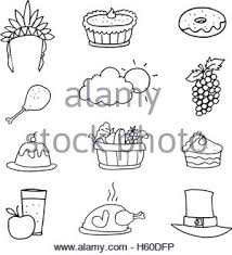 doodle of draw thanksgiving object stock vector