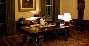 obama at desk obama after dark the precious hours alone the new york times