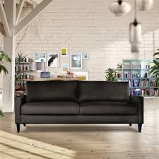 brick wall apartment furniture black leather clark apartment size sofa on laminate