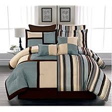 Blue And Brown Bed Sets 8 Luxury Reversible Blue Beige And Brown Stripe