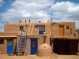 Adobe Style Houses by Pueblo De Taos World Heritage Site National Geographic
