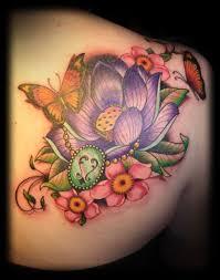 flower back shoulder tattoos popular butterflies with