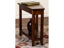 market square roanoke cherry finish wedge chair side table