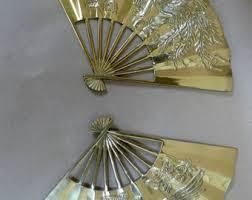oriental fans wall decor brass wall decor etsy