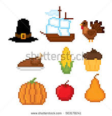 thanksgiving icon set pixel stock vector 503178295