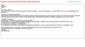 software developer internship offer letters