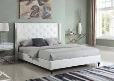 White Leather Platform Bed Tufted Bed Ebay