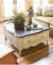 Chalk Paint Side Table Traveler Vintage French Country Coffee Table Upycling Furniture