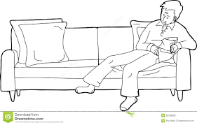 Couch Drawing Person Asleep On Sofa With Snack Stock Illustration Image 55336586