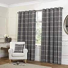 Grey Curtains 90 X 90 Plaid Check Grey Eyelet Curtains 90x90 229x229cm Co Uk