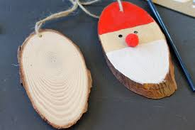 wood slice santa ornaments the country chic cottage