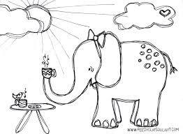 elephant love coloring page feed your soul art even pink elephants love a good chai tea