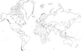 Borderless World Map by Black And White World Map