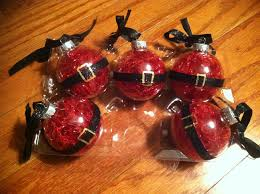 clear ornaments red tinsel black ribbon double sided tape and