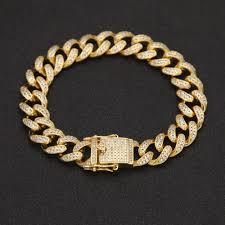 cuban link bracelet gold images 2018 hip hop bracelet men zircon curb cuban link bracelet gold jpg