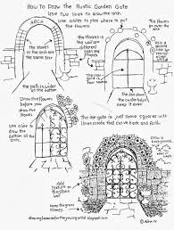 Garden Arch Plans How To Draw The Rustic Garden Gate With A Stone Arch How To Draw
