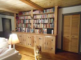 furniture built in oak book case integreted with wooden roof black