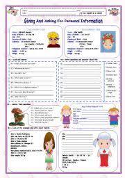 english teaching worksheets personal information