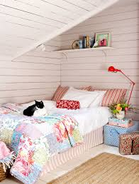 decordots colorful bedroom with sloped ceiling