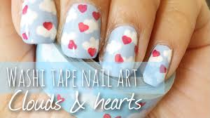 washi tape nail art tutorial clouds u0026 hearts youtube