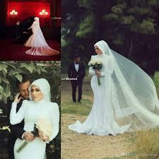 abaya wedding dress 2017 islamic muslim mermaid lace wedding dresses