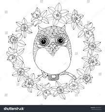 kawaii zentangle owl daffodil wreath vector stock vector 420570361