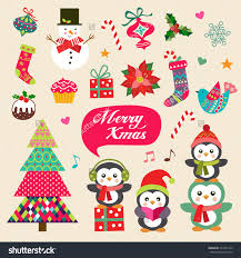 stock vector vector set of christmas decoration with symbols icons