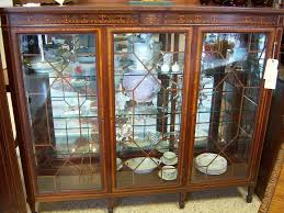 antique bookcase glass doors mahogany china cabinet or bookcase inlaid marquetry three door