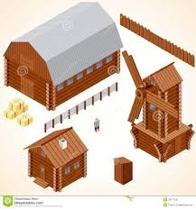 isometric wooden cabins and house vector clip art royalty free