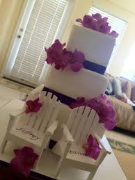 leann u201d 3 tier square wedding cake with purple ribbon and pink