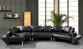 Contemporary Curved Sectional Sofa In Black Leather Modern - Curved contemporary sofa living room furniture