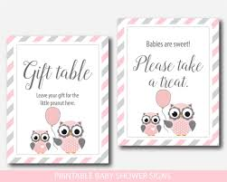 baby shower signs owl baby shower table signs woodland owl gift table signs pink