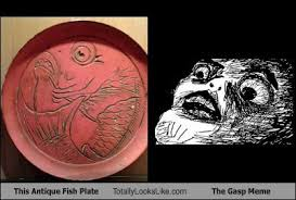 Gasp Meme - this antique fish plate totally looks like the gasp meme totally