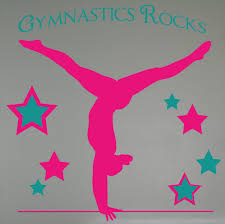 balancing gymnast silhouette and stars with gymnastics rocks girls balancing gymnast silhouette and stars with gymnastics rocks girls wall stickers decals loading zoom