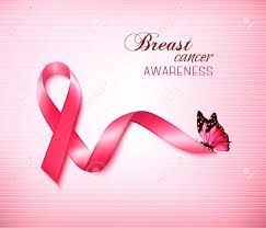 background with pink breast cancer ribbon and butterfly vector