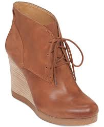 womens boots lucky brand lucky brand s taheeti lace up wedge booties in brown lyst
