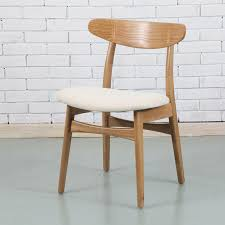 astrid solid oak wood dining chair cream fabric seat