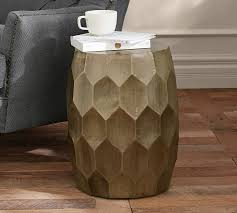 vince metal clad accent stool pottery barn