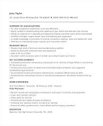 Maintenance Foreman Resume 100 Sample Mechanic Resume Automotive Apprentice Resume
