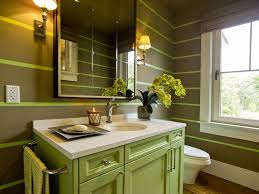 great looking powder room design with grey wall color and green