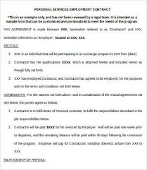 employment contract form temporary employment contract sample 9