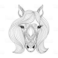 vector horse coloring page with horse face stock vector art