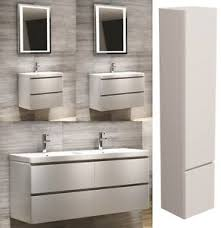 2 Basin Vanity Units Modern Bathroom Vanity Unit Wall Hung White Basin Sink Cabinet 2