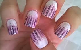 life world women waterfall nail art white based lilac and