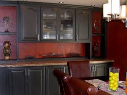 kitchen attractive cool black kitchen cabinets with red walls