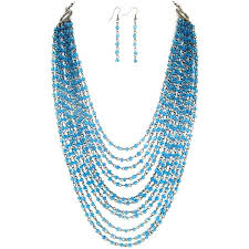 blue beaded necklace images Sea blue layered beaded necklace earrings set 36tyb5 jpg