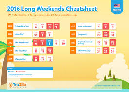 9 long weekends in malaysia in 2016