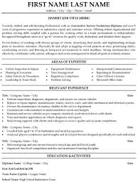 Areas Of Expertise Resume Areas by Download Automotive Technician Resume Haadyaooverbayresort Com